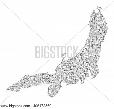 Polygonal Mesh Map Of Honshu Island In High Detail Resolution. Mesh Lines, Triangles And Points Form