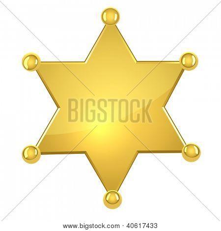 Estrela de xerife ouro branco isolada no fundo branco.