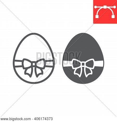 Easter Egg With Ribbon Line And Glyph Icon, Happy Easter And Holiday, Easter Egg With Ribbon Vector