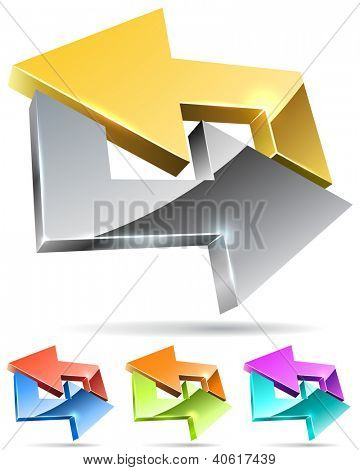 Gold and silver arrow cycle 3D icon isolated on white background with color variants.