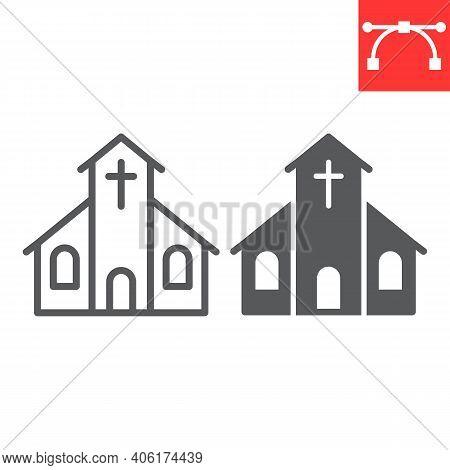 Church Line And Glyph Icon, Building And God, Church Vector Icon, Vector Graphics, Editable Stroke O