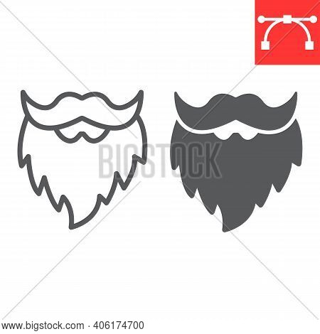 Leprechaun Beard Line And Glyph Icon, St. Patricks Day And Holiday, Mustache With Beard Vector Icon,