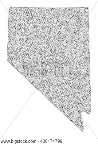 Polygonal Mesh Map Of Nevada State In High Detail Resolution. Mesh Lines, Triangles And Points Form
