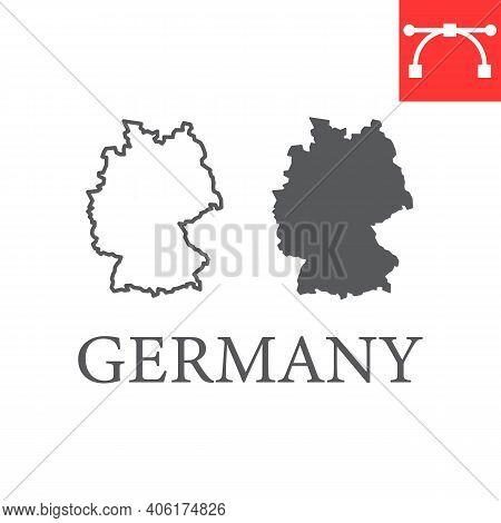 Map Of Germany Line And Glyph Icon, Country And Geography, Germany Map Sign Vector Graphics, Editabl