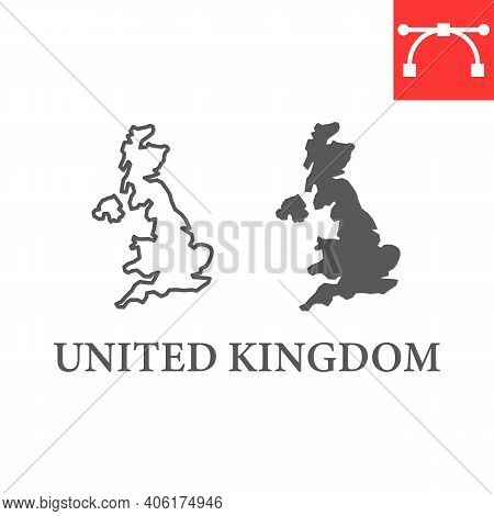 Map Of United Kingdom Line And Glyph Icon, Country And Geography, Great Britain Map Sign Vector Grap