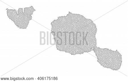 Polygonal Mesh Map Of Tahiti And Moorea Islands In High Resolution. Mesh Lines, Triangles And Points