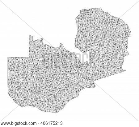 Polygonal Mesh Map Of Zambia In High Detail Resolution. Mesh Lines, Triangles And Dots Form Map Of Z