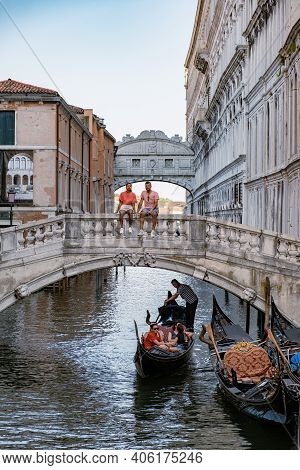 Canals Of Venice Italy During Summer In Europe, Architecture And Landmarks Of Venice. Italy Europe,