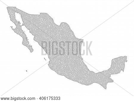 Polygonal Mesh Map Of Mexico In High Resolution. Mesh Lines, Triangles And Dots Form Map Of Mexico.