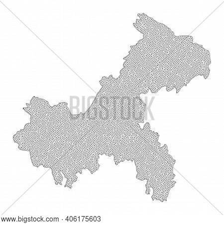 Polygonal Mesh Map Of Chongqing Municipality In High Resolution. Mesh Lines, Triangles And Points Fo