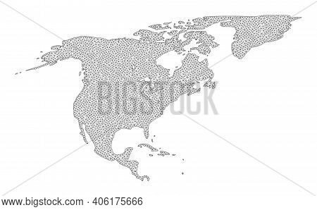 Polygonal Mesh Map Of North America And Greenland In High Detail Resolution. Mesh Lines, Triangles A