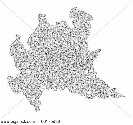 Polygonal Mesh Map Of Lombardy Region In High Detail Resolution. Mesh Lines, Triangles And Dots Form