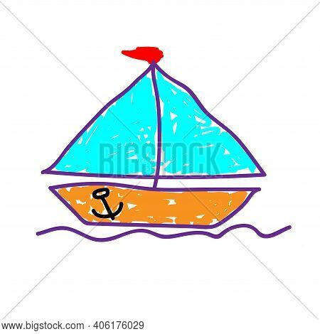 Ship Dissecting Water Surface In A Deliberately Childish Style. Child Drawing. Sketch Imitation Pain
