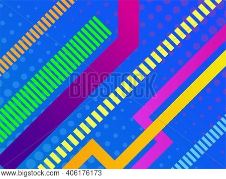 Vector Abstract Colorful Geometric Banner, Textured Background With Gradient Stripes, Presentation T