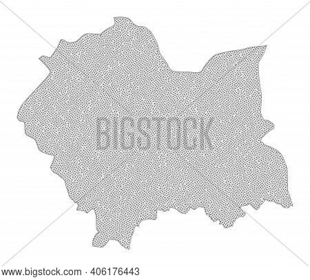 Polygonal Mesh Map Of Lesser Poland Province In High Detail Resolution. Mesh Lines, Triangles And Do