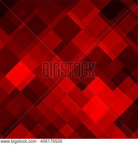 Abstract Red Background Of Squares With Overlapping