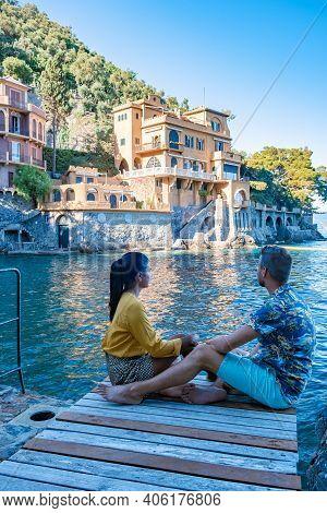 Beautiful Sea Coast With Colorful Houses In Portofino, Italy Europe Portofino In Liguria, Italy. Gen