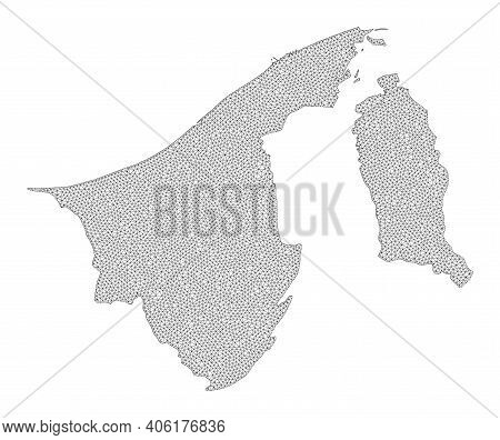 Polygonal Mesh Map Of Brunei In High Resolution. Mesh Lines, Triangles And Dots Form Map Of Brunei.