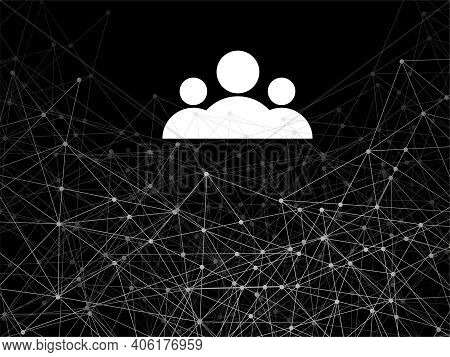 Abstract Geometric Background With Connecting Dots And Lines, User Account Flat Icon For Apps