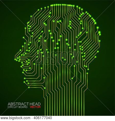 Abstract Neon Human Head With Circuit Board. Digital Technology Concept