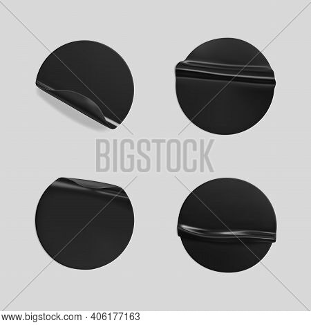 Black Glued Round Crumpled Sticker Mockup Set. Adhesive Clear Black Paper Or Plastic Stickers Label