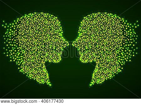 Abstract Two Silhouette Human Head With Glowing Circles, Dotted Logo