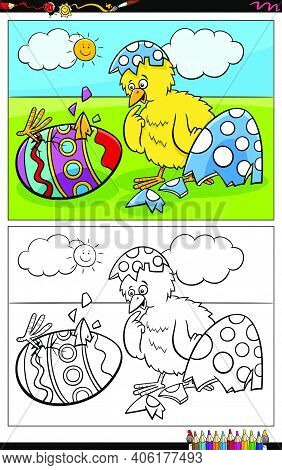 Cartoon Illustration Of Easter Chick Hatching From Colored Egg Coloring Book Page