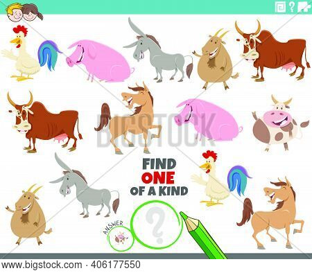 Cartoon Illustration Of Find One Of A Kind Picture Educational Game With Happy Farm Animal Character