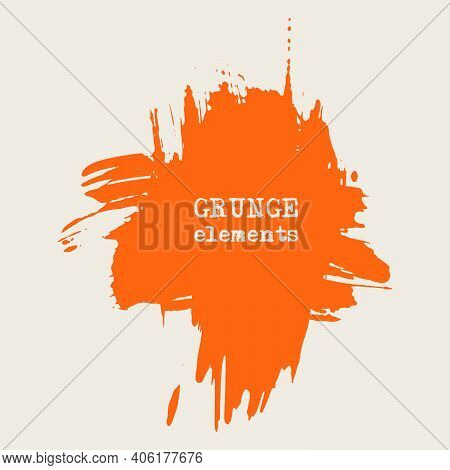 Vector Splats Splashes And Blobs Of Orange Ink Paint In Different Shapes Drips Isolated On White