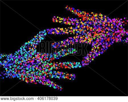 Abstract Two Human Hand With Colorful Ink Splashes, Grunge Splatters