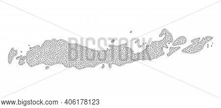 Polygonal Mesh Map Of Indonesia - Flores Islands In High Detail Resolution. Mesh Lines, Triangles An