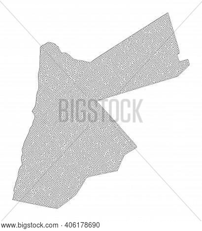 Polygonal Mesh Map Of Jordan In High Resolution. Mesh Lines, Triangles And Dots Form Map Of Jordan.