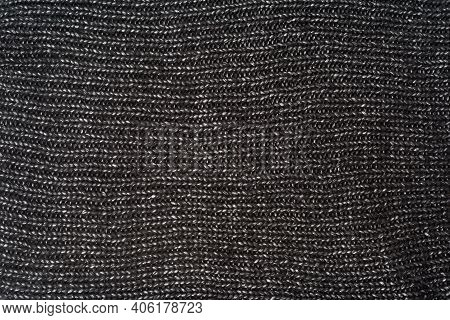 Texture Of Black Knitted Woolen Cloth, Full Frame