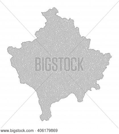 Polygonal Mesh Map Of Kosovo In High Resolution. Mesh Lines, Triangles And Dots Form Map Of Kosovo.