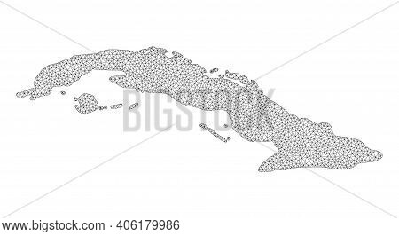Polygonal Mesh Map Of Cuba In High Detail Resolution. Mesh Lines, Triangles And Points Form Map Of C