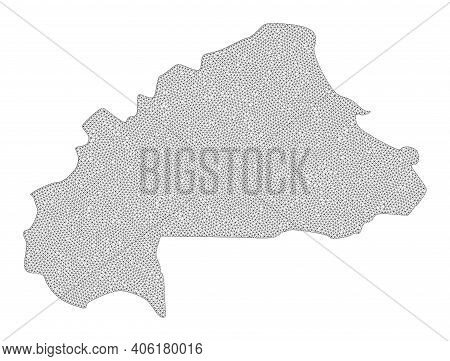 Polygonal Mesh Map Of Burkina Faso In High Resolution. Mesh Lines, Triangles And Dots Form Map Of Bu