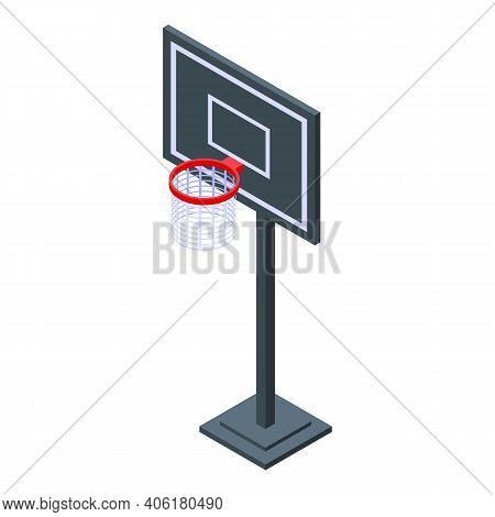 Basketball Hoop Icon. Isometric Of Basketball Hoop Vector Icon For Web Design Isolated On White Back