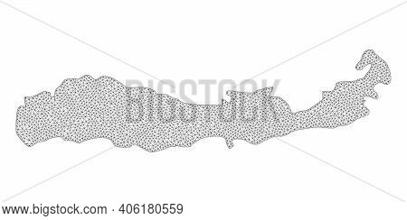 Polygonal Mesh Map Of Indonesia - Flores Island In High Detail Resolution. Mesh Lines, Triangles And