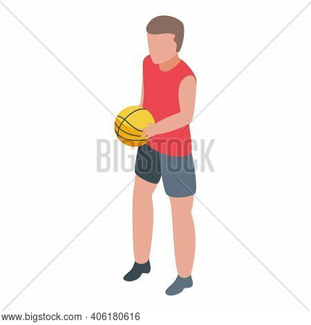 Teen Basketball Icon. Isometric Of Teen Basketball Vector Icon For Web Design Isolated On White Back