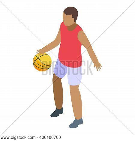Teenager Playing Basketball Icon. Isometric Of Teenager Playing Basketball Vector Icon For Web Desig