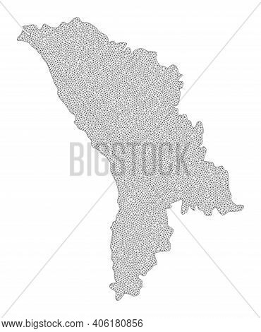 Polygonal Mesh Map Of Moldova In High Detail Resolution. Mesh Lines, Triangles And Dots Form Map Of