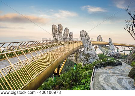 Famous Tourist Attraction - Golden Bridge At The Top Of The Ba Na Hills, Vietnam