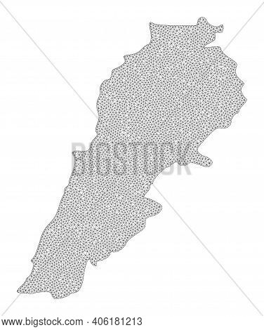 Polygonal Mesh Map Of Lebanon In High Resolution. Mesh Lines, Triangles And Points Form Map Of Leban