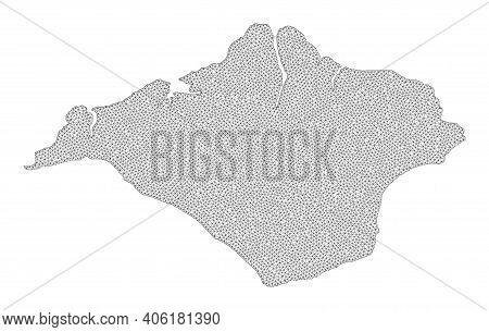 Polygonal Mesh Map Of Isle Of Wight In High Resolution. Mesh Lines, Triangles And Dots Form Map Of I