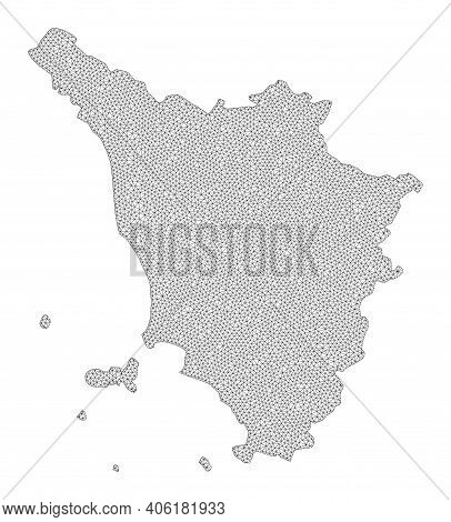 Polygonal Mesh Map Of Tuscany Region In High Detail Resolution. Mesh Lines, Triangles And Points For