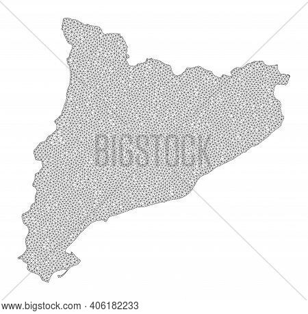 Polygonal Mesh Map Of Catalonia In High Detail Resolution. Mesh Lines, Triangles And Points Form Map