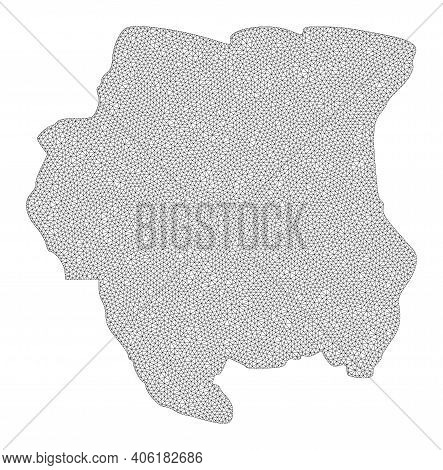 Polygonal Mesh Map Of Suriname In High Resolution. Mesh Lines, Triangles And Points Form Map Of Suri