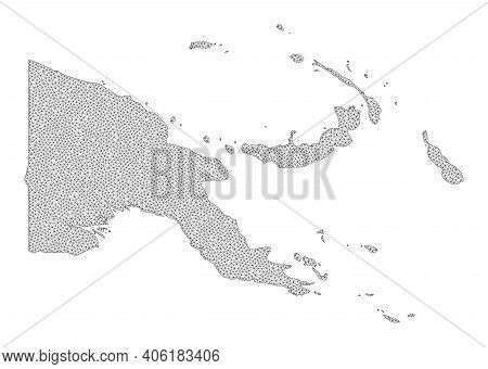 Polygonal Mesh Map Of Papua New Guinea In High Detail Resolution. Mesh Lines, Triangles And Points F