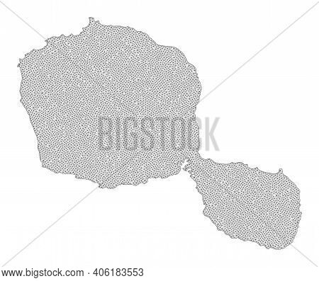 Polygonal Mesh Map Of Tahiti Island In High Detail Resolution. Mesh Lines, Triangles And Dots Form M