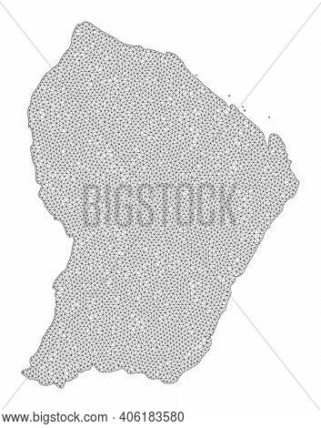 Polygonal Mesh Map Of French Guiana In High Detail Resolution. Mesh Lines, Triangles And Dots Form M